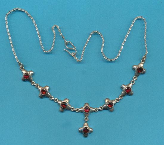 8 Stone Cross Necklace