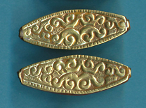Brass Scroll Design, Long Flat Bead