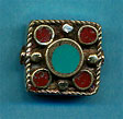 Brass five circles in square, coral and turquoise.JPG
