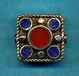 brass five circles in square, lapis and coral