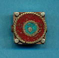 Brass square with coral and turquoise circles.JPG