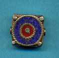 Brass square with lapis and coral circles.JPG