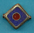 Brass square, lapis with coral circle center.JPG