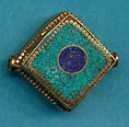 Brass square, turquoise with lapis circle center.JPG