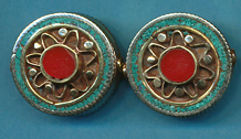 Circle with Flower Design, Turquoise and Coral
