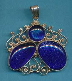 Dichroic Glass in silver, Blue