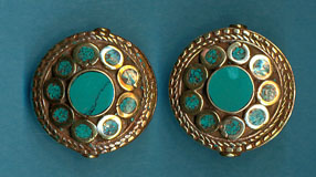 Disc with many circles turquoise