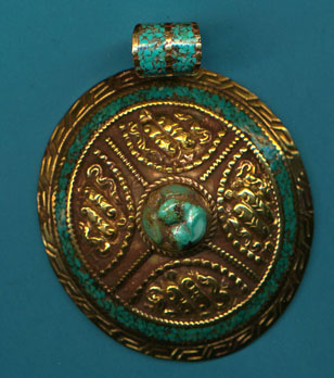 Domed Brass Turquoise Pendant