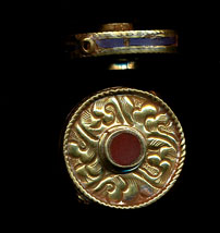 Flat Carved Disc with coral and lapisl.JPG