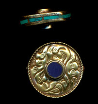 Flat Carved Disc with lapis and turq.JPG