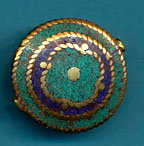 Flower in Circle Disc Lapis and Turquoise.JPG