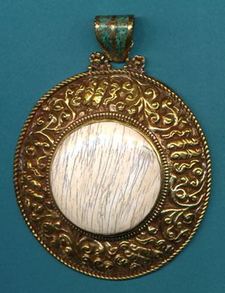 Large Brass with Shell Pendant