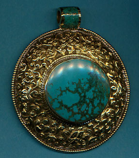 Large Circular Pendant with Turquoise