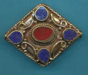 Large Diamond Shaped Lapis with Coral, (BD059LC)