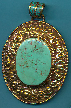 Large Oval Turquoise Pendant