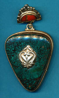 Nilofur Turquoise and Coral Pendant, Brass