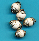Silver Capped Shell bead 8mm