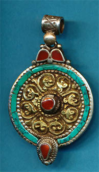 Silver Medalion with turquoise coral and brass