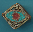 Square Filigree Turquoise and Coral