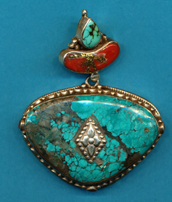 Turquoise Silver and Brass Back